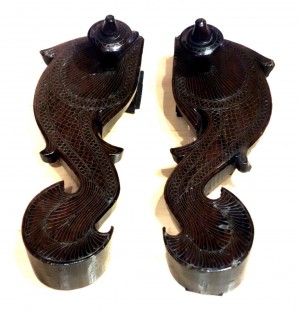 Artistic fish-shaped paduka