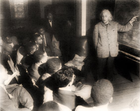 Albert Einstein with Afro-American students