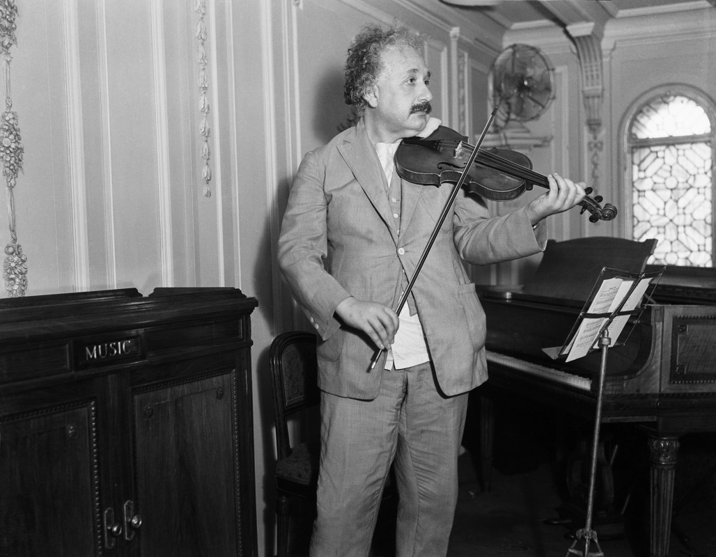 Albert Einstein playing his violin