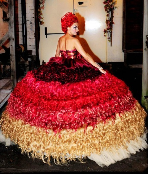 Human hair dress - back