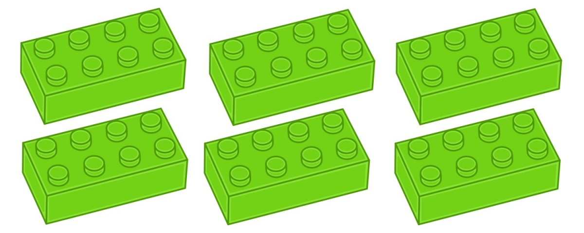 6 Lego bricks