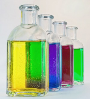 Bottles containing colored liquid