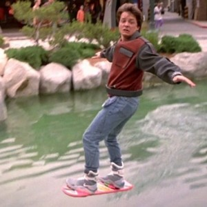 Marty McFly on hover-board
