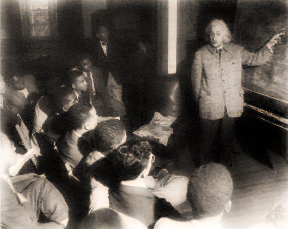 Albert Einstein with Afro-American students