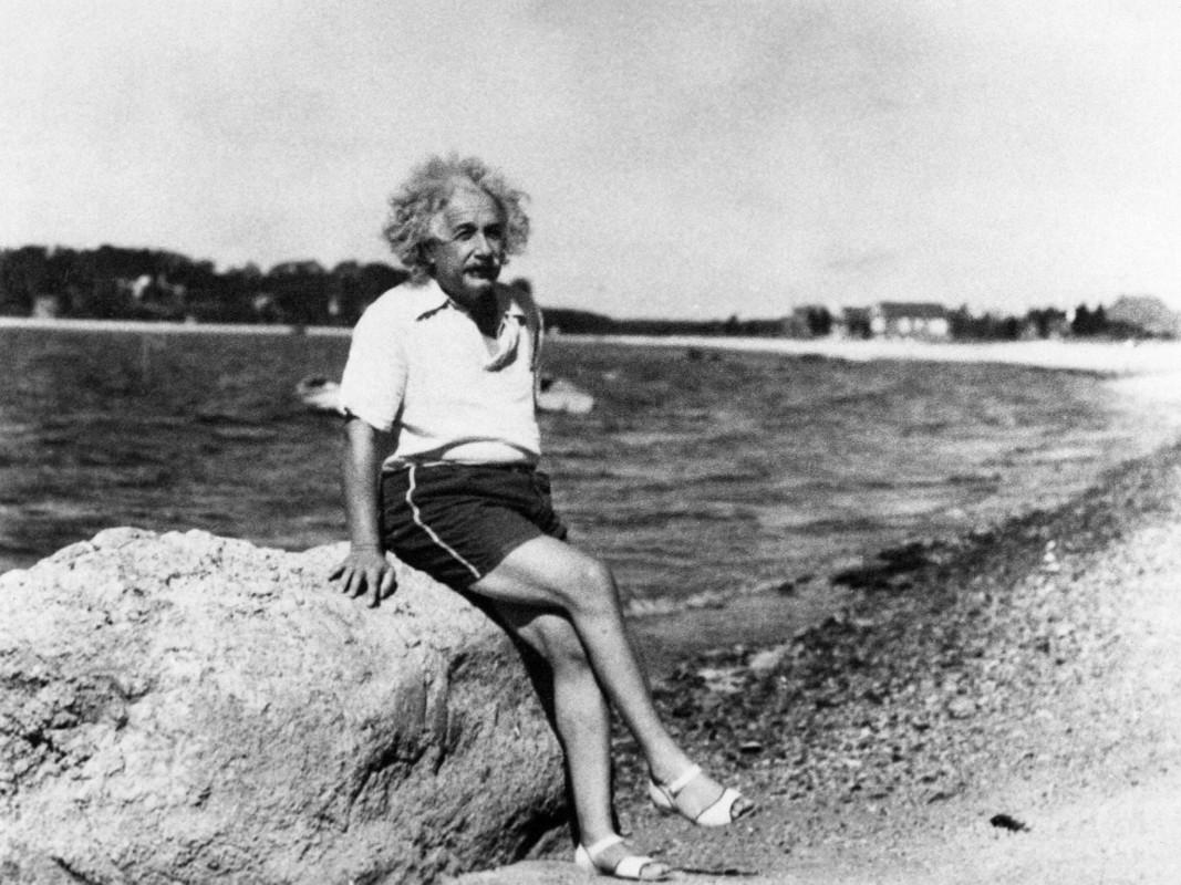 Albert Einstein wearing sandals
