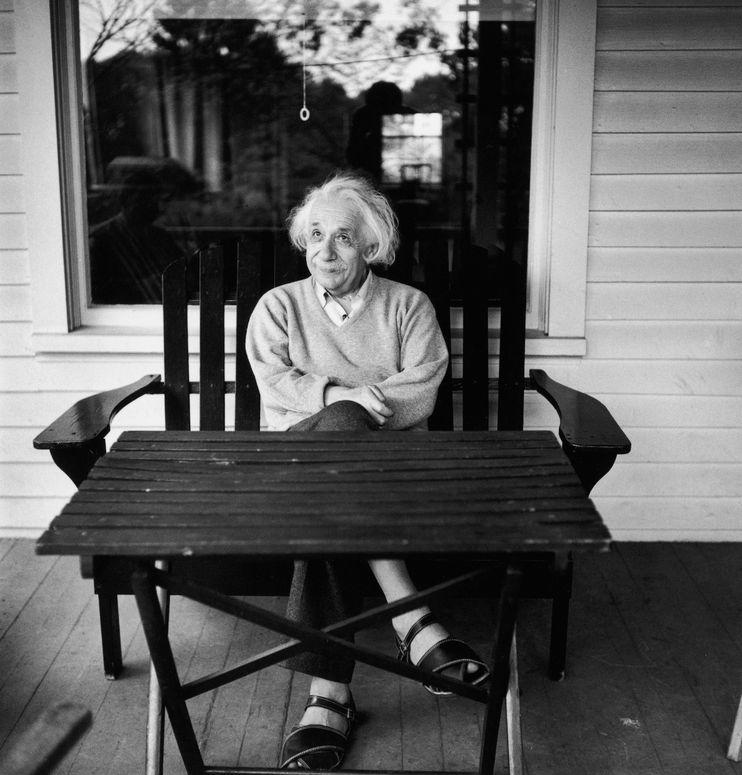 Albert Einstein on the porch