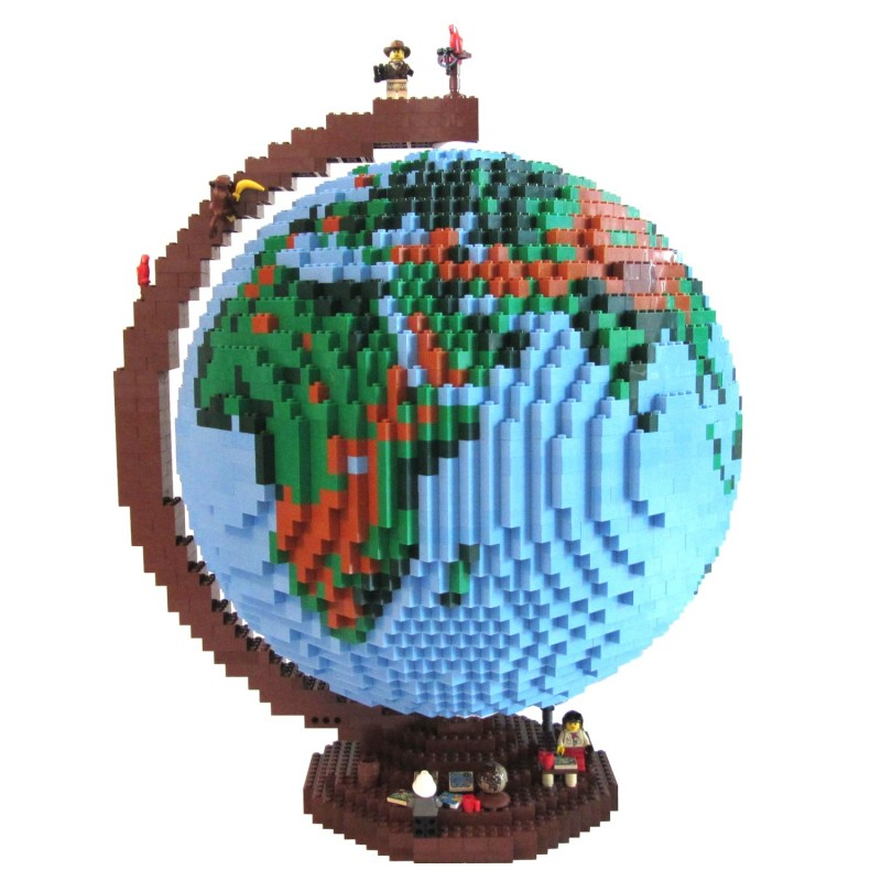 Globe made of Lego pieces