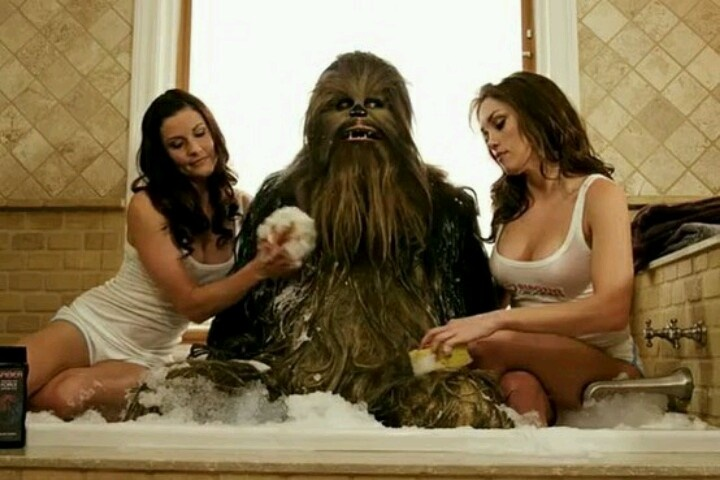 Chewbacca takes a bath