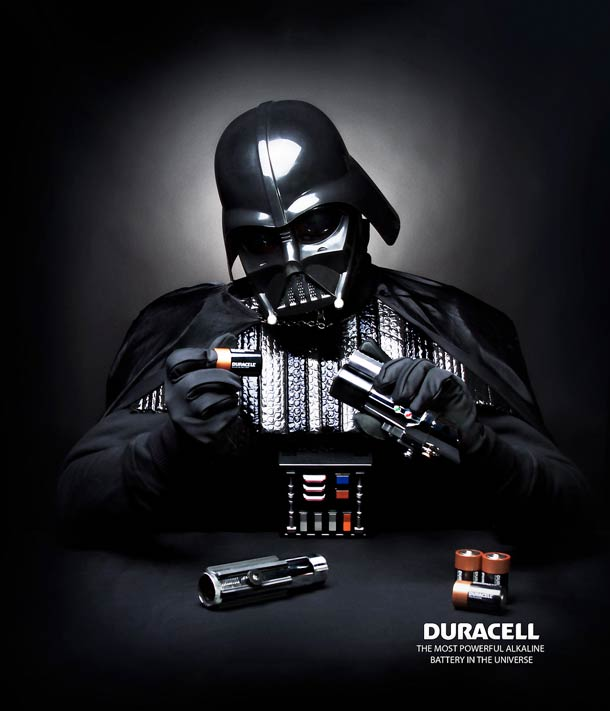 Darth Vader changing the sword batteries
