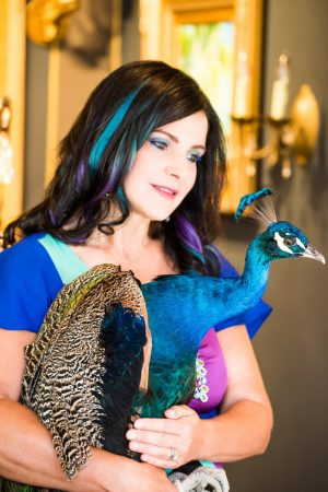 Concetta Antico with a peacock